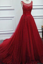 Load image into Gallery viewer, Luxurious A-Line Round Neck Red Long Prom Dress with Pearl