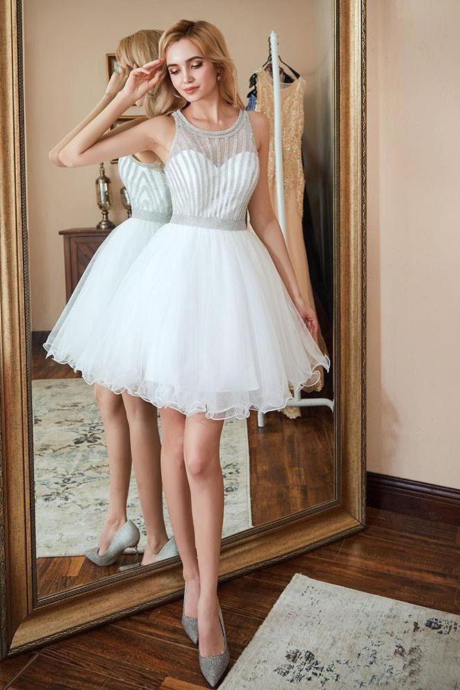 Scoop A Line White Homecoming Dresses Sequins Above Knee Tulle Short Prom Dresses H1100