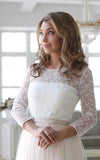 Scoop Neck Long Sleeve Tulle Wedding Dress With Lace Bodice V Back Wedding Gowns RS512