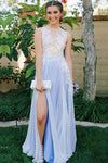 See Through Side Slit Pale Blue Lace Chiffon Scoop Party Dresses Prom Dresses RS375
