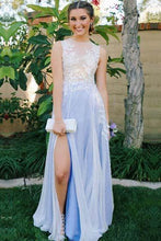 Load image into Gallery viewer, See Through Side Slit Pale Blue Lace Chiffon Scoop Party Dresses Prom Dresses RS375
