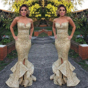 long gold sequin sparkle mermaid charming prom dress sweetheart prom dress 141509