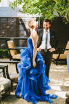 High Low Royal Blue Organza Prom Gowns Strapless Evening Dresses For Teens Brides RS158