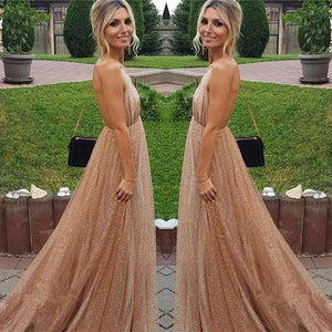 Sexy A-line Spaghetti Straps Deep V-neck Sexy Backless Sequins Prom Party Dresses RS783