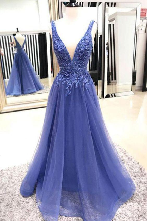 Sexy A Line Deep V Neck Sleeveless Lace Tulle Long Prom Dresses Evening Dresses RS872