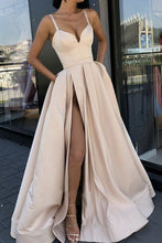 Load image into Gallery viewer, Sexy A line High Slit V Neck Spaghetti Straps Prom Dress Pockets Satin Formal Dress RS576