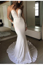 Load image into Gallery viewer, Sexy Berta Mermaid V Neck Wedding Dress Long Sleeves Open Back Wedding Gowns W1088