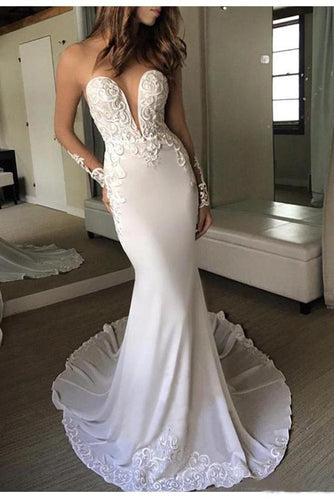 Sexy Berta Mermaid V Neck Wedding Dress Long Sleeves Open Back Wedding Gowns W1088