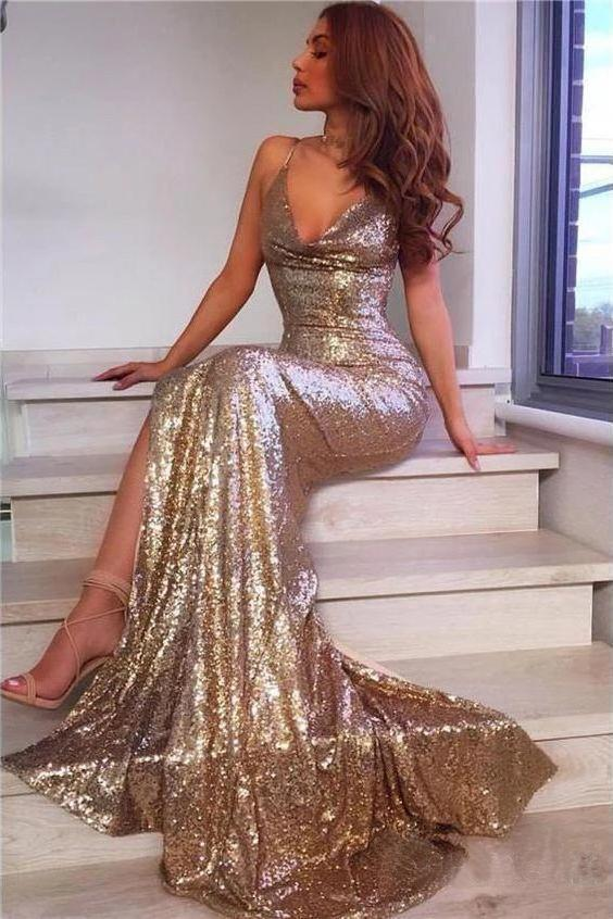 Sexy Champagne Gold Mermaid Prom Dresses Side Slit Backless Formal Dresses P1102