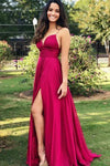 Sexy Fuchsia Pink Side Slit Long Spaghetti Straps V Neck Prom Dresses with Ruched Top RS427