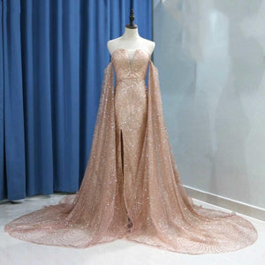Sexy Long Sleeve Gold Split Sequins Off the Shoulder Prom Evening Dresses RS756