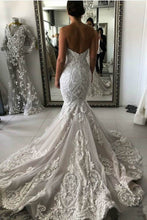Load image into Gallery viewer, Sexy Mermaid Ivory Lace Appliques Backless Wedding Dresses Wedding Gowns W1011