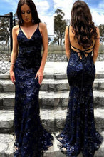 Load image into Gallery viewer, Sexy Mermaid Spaghetti Straps Lace Backless Navy Blue Prom Dress Long Evening Dresses P1099