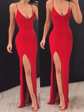 Load image into Gallery viewer, Sexy Mermaid Spaghetti Straps V Neck Red Side Slit Satin Long Prom Dresses RS574