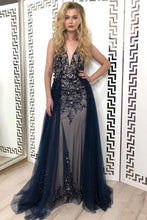 Load image into Gallery viewer, Sexy Navy Blue Tulle Sequins V Neck Prom Dresses Long Backless Formal Prom Dress RS799