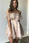 Sexy Off the Shoulder Lace Appliques Homecoming Dresses Short Prom Dresses H1283