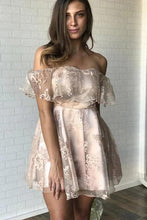 Load image into Gallery viewer, Sexy Off the Shoulder Lace Appliques Homecoming Dresses Short Prom Dresses H1283