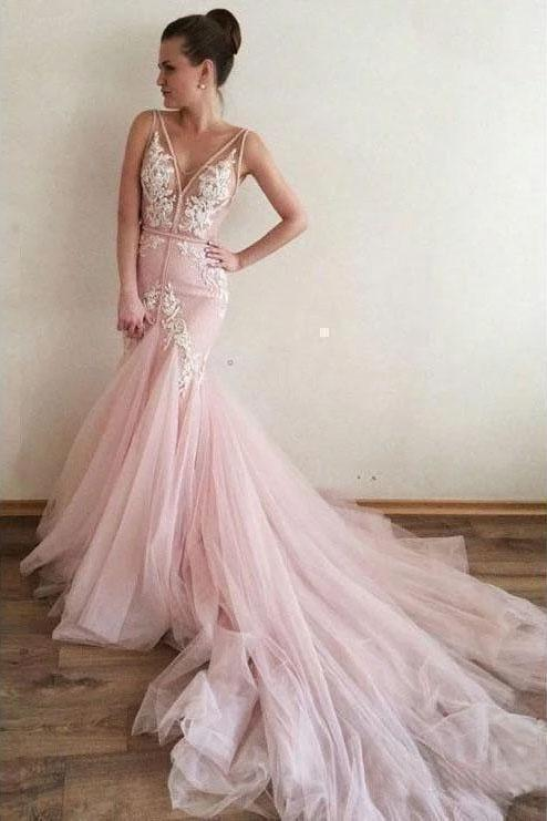 Sexy Pink Tulle Mermaid Wedding Dresses Backless V Neck Lace Bodice Bridal Dresses W1093