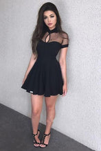 Load image into Gallery viewer, Sexy Short Sleeve Black High Neck Homecoming Dresses Short Prom Dresses with Chiffon H1092