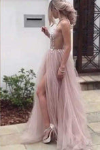 Load image into Gallery viewer, Sexy Slit Beading Tulle Backless V Neck Long Evening Dresses Sleeveless Party Dresses RS929