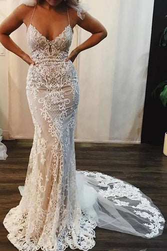 Sexy Spaghetti Straps Mermaid Wedding Dresses Lace Appliques V Neck Bridal Dresses W1070
