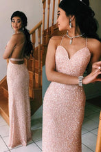 Load image into Gallery viewer, Sexy Spaghetti Straps V Neck Pink Rose Gold Prom Dresses Backless Evening Gowns P1119