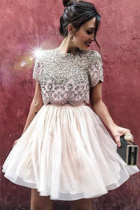 Sexy Two Piece Short Sleeve Homecoming Dress with Beads Round Neck Chiffon Prom Dress H1191