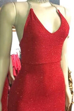 Load image into Gallery viewer, Sexy V Neck Red Glitter Sequins Prom Dresses Mermaid Halter Backless Evening Gowns P1143