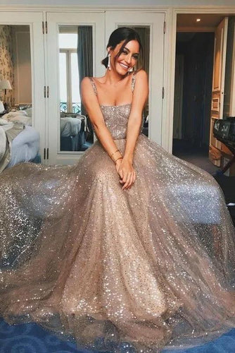 Shiny A Line Sequin Straps Sleeveless Prom Dresses Backless Sleeveless Formal Dress RS477