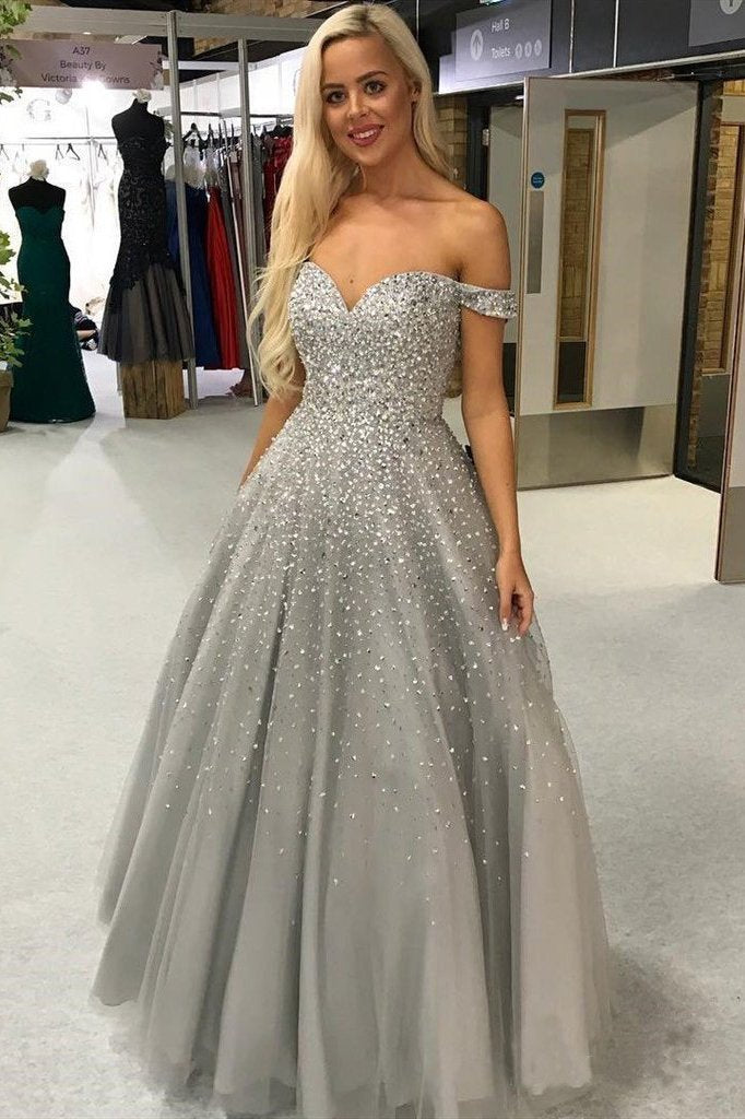 Shiny Ball Gown Off the Shoulder Sweetheart Silver Beaded Tulle Prom Dresses RS981