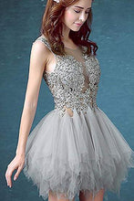 Load image into Gallery viewer, Short Sexy See Through Lace Tulle Gray Homecoming Dresses with Sequins Party Dresses H1147