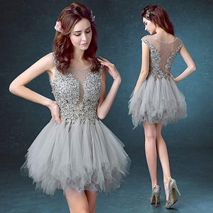 Short Sexy See Through Lace Tulle Gray Homecoming Dresses with Sequins Party Dresses H1147