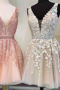 Short V Neck Beaded Ivory Tulle Prom Dresses Homecoming Dresses Lace Embroidery RS754