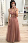 Simple A Line V Neck Prom Dress with Beading and Sequins Long Party Dress RS892