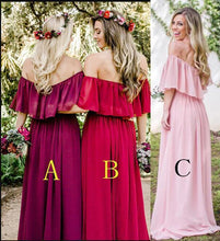 Load image into Gallery viewer, Simple A line Chiffon Red Off the Shoulder Flowy Bridesmaid Dresses Prom Dresses RS806