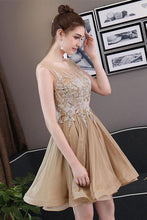 Load image into Gallery viewer, Simple Blue Tulle Backless Homecoming Dresses with Lace Graduation Dresses RS822