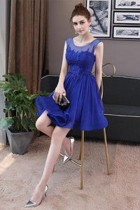 Simple Blue Tulle Backless Homecoming Dresses with Lace Graduation Dresses RS822