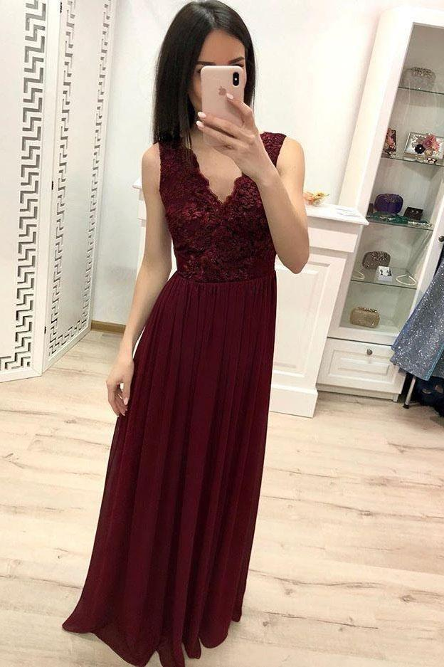 Simple Burgundy Chiffon V Neck Lace Appliques Prom Dresses Long Cheap Prom Gowns RS896