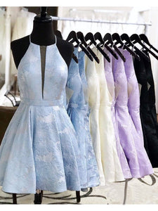 Simple Lilac Jacquard Floral Homecoming Dresses with Pocket Halter Graduation Dresses RS949