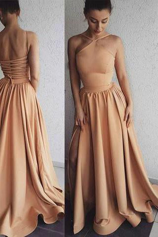 Simple Long Prom Dresses A-Line Tie Back Side Slit Sleeveless Formal Dresses P1055
