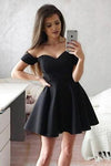 Simple Off the Shoulder Black Homecoming Dresses Sweetheart Satin Short Prom Dresses H1089