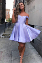 Load image into Gallery viewer, Simple Off the Shoulder Pink Homecoming Dresses Cheap Lace up Homecoming Dress H1030