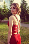 Simple Red Mermaid High Neck Prom Dresses Chiffon Open Back Evening Dresses RS542