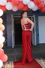 Load image into Gallery viewer, Simple Red Mermaid High Neck Prom Dresses Chiffon Open Back Evening Dresses RS542
