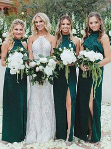 Simple Sheath High Neck Dark Green Bridesmaid Dress with Split Long Prom Dresses RS985