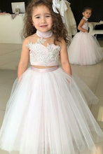 Load image into Gallery viewer, Simple Two Piece Ball Gown Halter Blush Pink Flower Girl Dresses with Appliques RS881