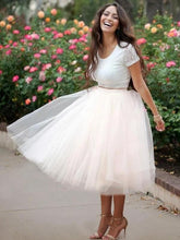 Load image into Gallery viewer, Simple Two Pieces Round Neck Ivory Short Prom Dress with Lace Homecoming Dresses H1155