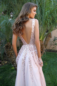 Simple V Neck Long A-line Pink Sequins Open Back Simple Flowy Prom Dresses RS405