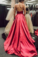 Load image into Gallery viewer, Simple V Neck Spaghetti Straps Red Satin Long Prom Dresses with Pockets Backless RS641