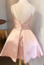 Load image into Gallery viewer, Simple V Neck Straps Short Pink Homecoming Dress Backless Satin Sweet 16 Dresses H1210